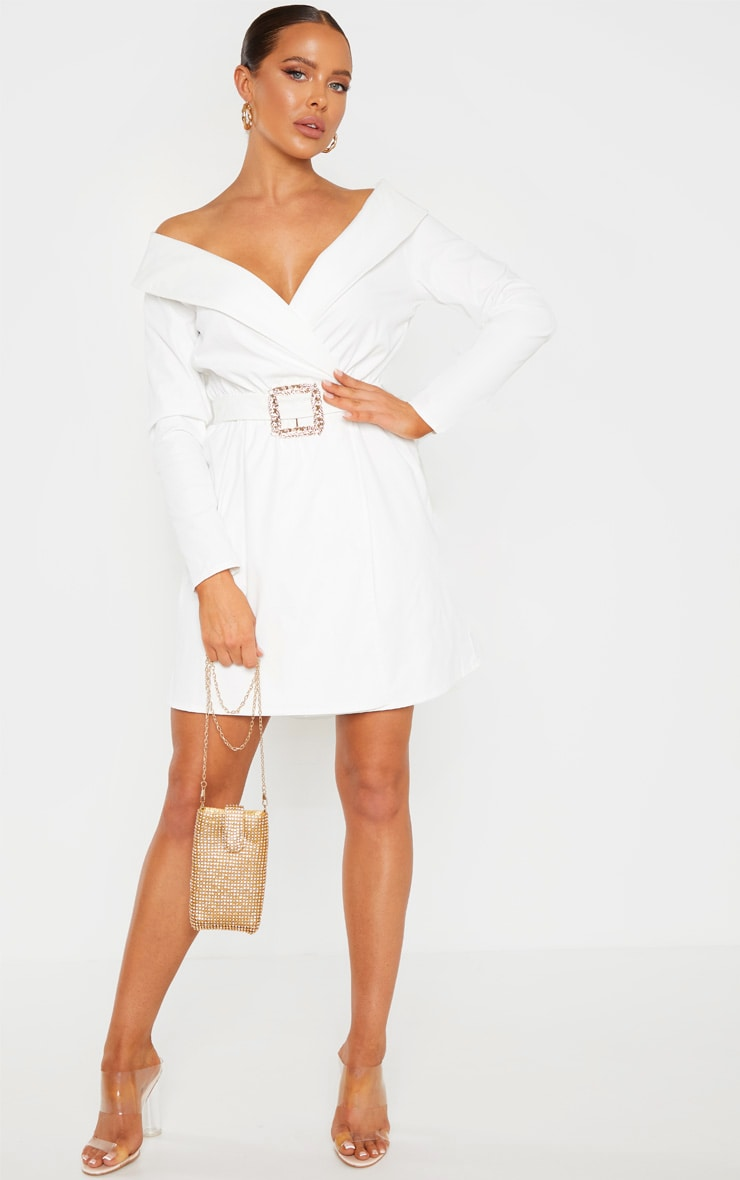 White Bardot Belt Detail Shift Dress 4
