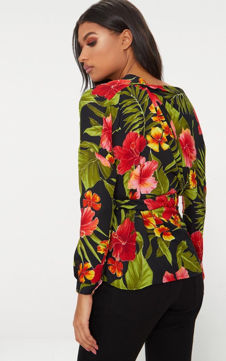 Black Floral Print Off Shoulder Belted Blouse 2