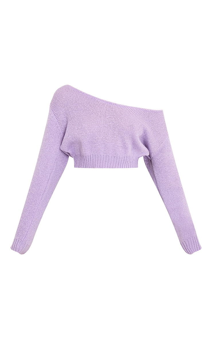 Adelaida Lilac Off Shoulder Knitted Crop Jumper 3