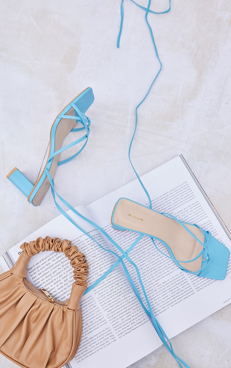 Blue Wide Fit Block Heel Square Toe Ankle Tie Strappy Sandals 3