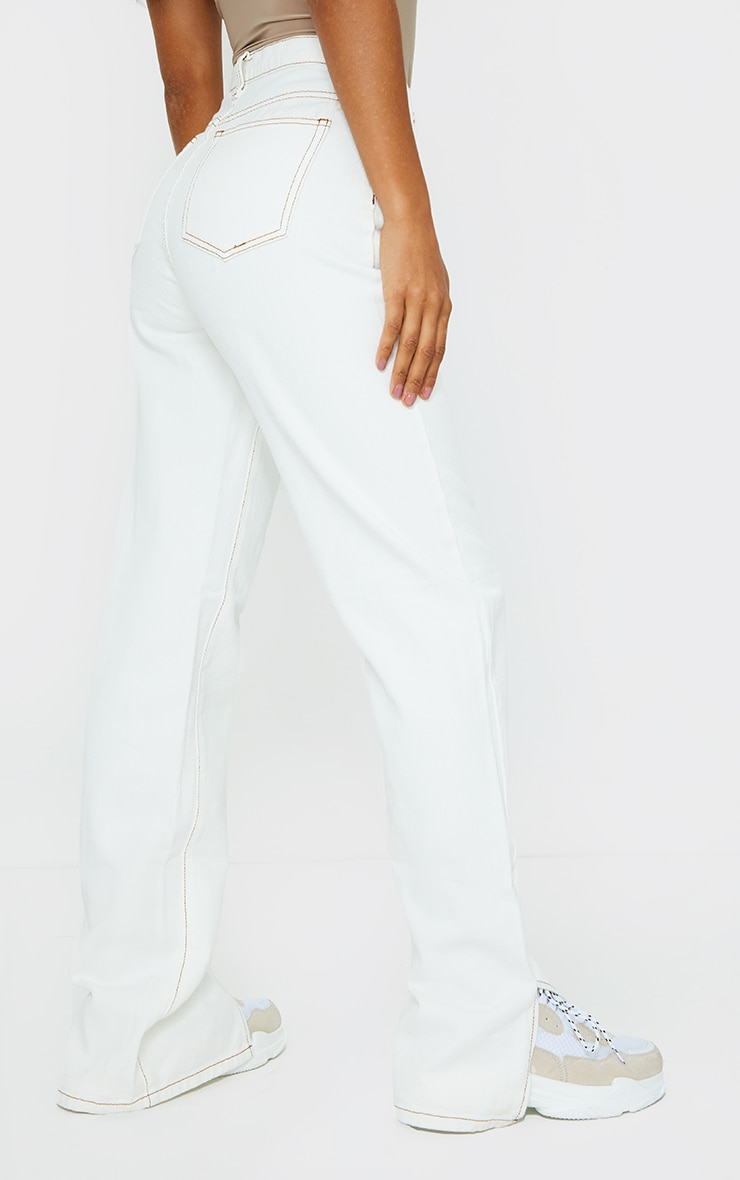 Ecru Contrast Stitch Split Hem Straight Leg Jeans 3