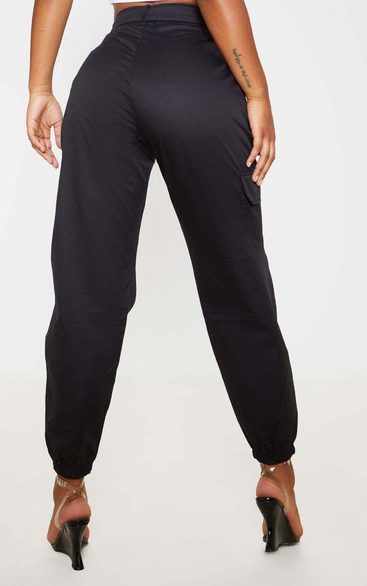 Black Eyelet Detail Belted Cargo Pants 4
