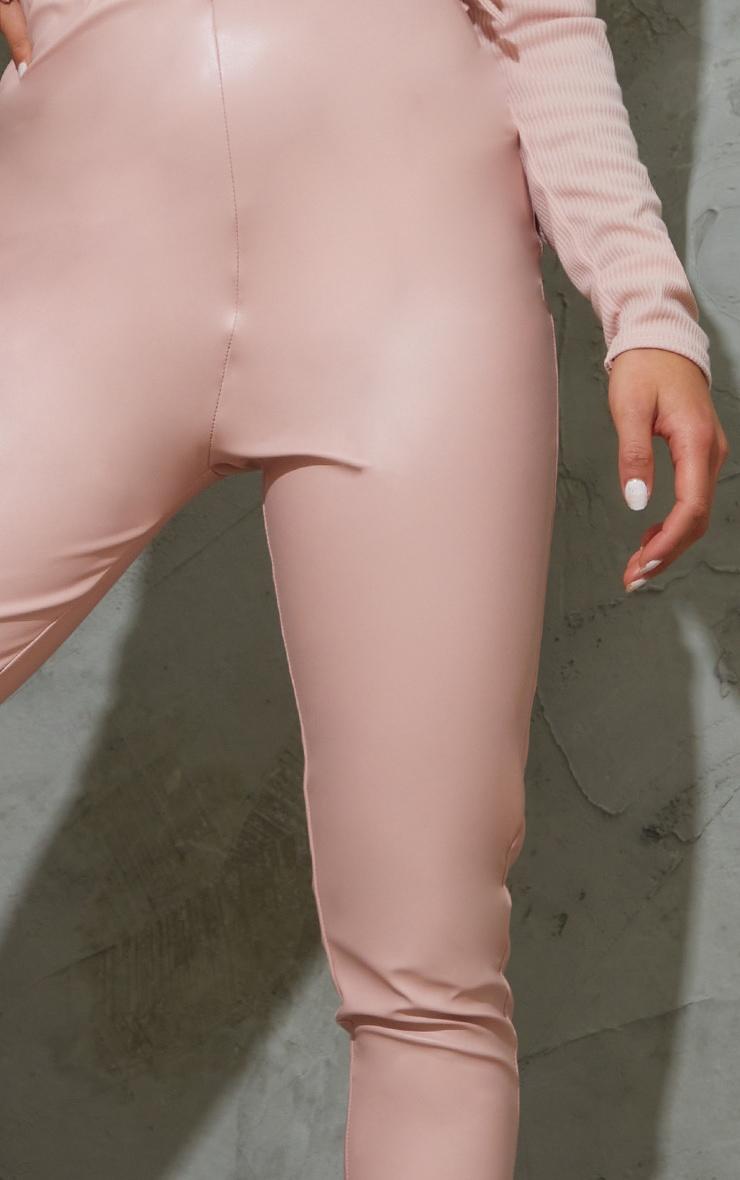Petite Pink Basic Faux Leather High Waist Leggings 4