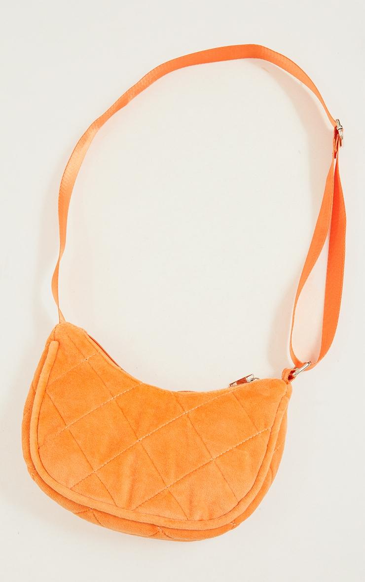 Orange Velour Diamond Quilted Shoulder Bag 3