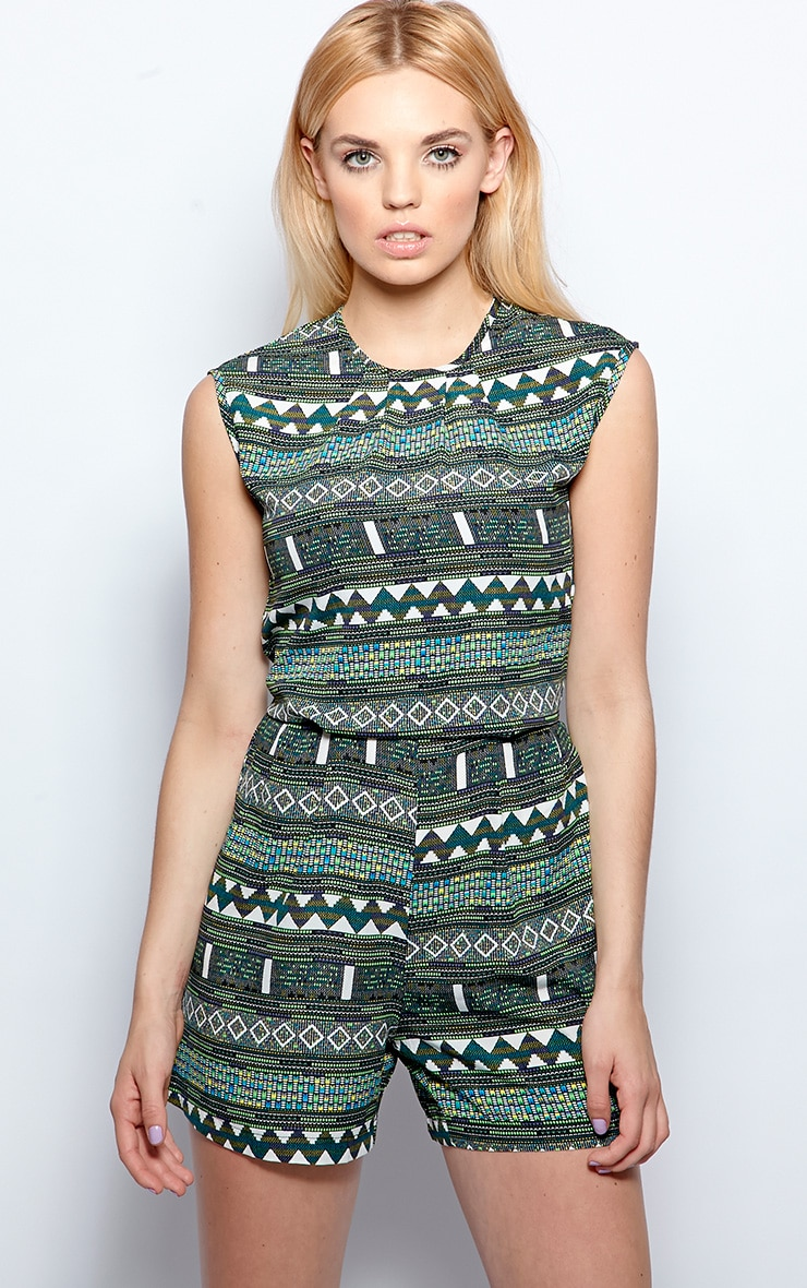 Anna Green Aztec Print Playsuit  1
