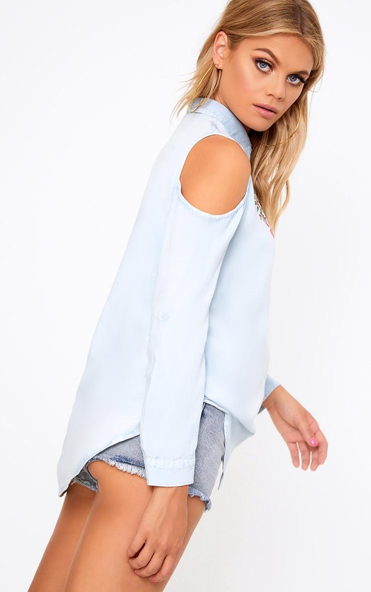Light Wash Cold Shoulder Crop Denim Shirt 2