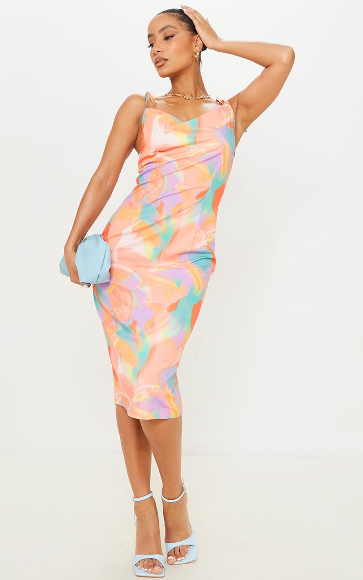 Orange Abstract Print Cowl Neck Tie Strap Midi Dress 1