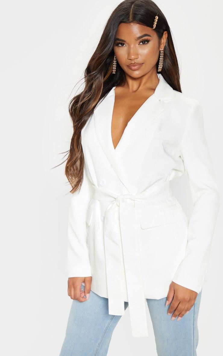 Rebecca Cream Belted Suit Blazer 1