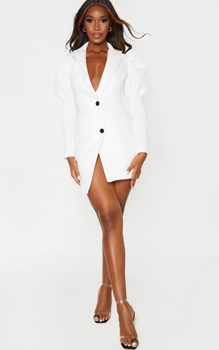White Scuba Puff Sleeve Blazer Dress 4