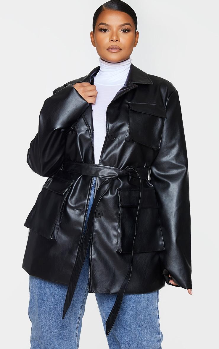 Plus Black PU Longline Pocket Front Jacket 3