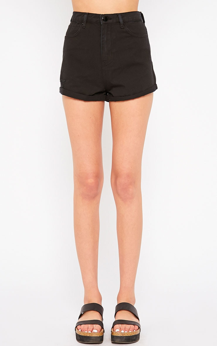 Maslynn Black Plain High Waisted Shorts 2