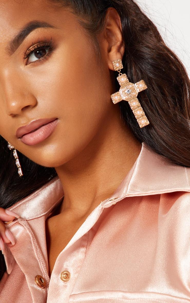 Gold Pearl Cross Drop Earrings