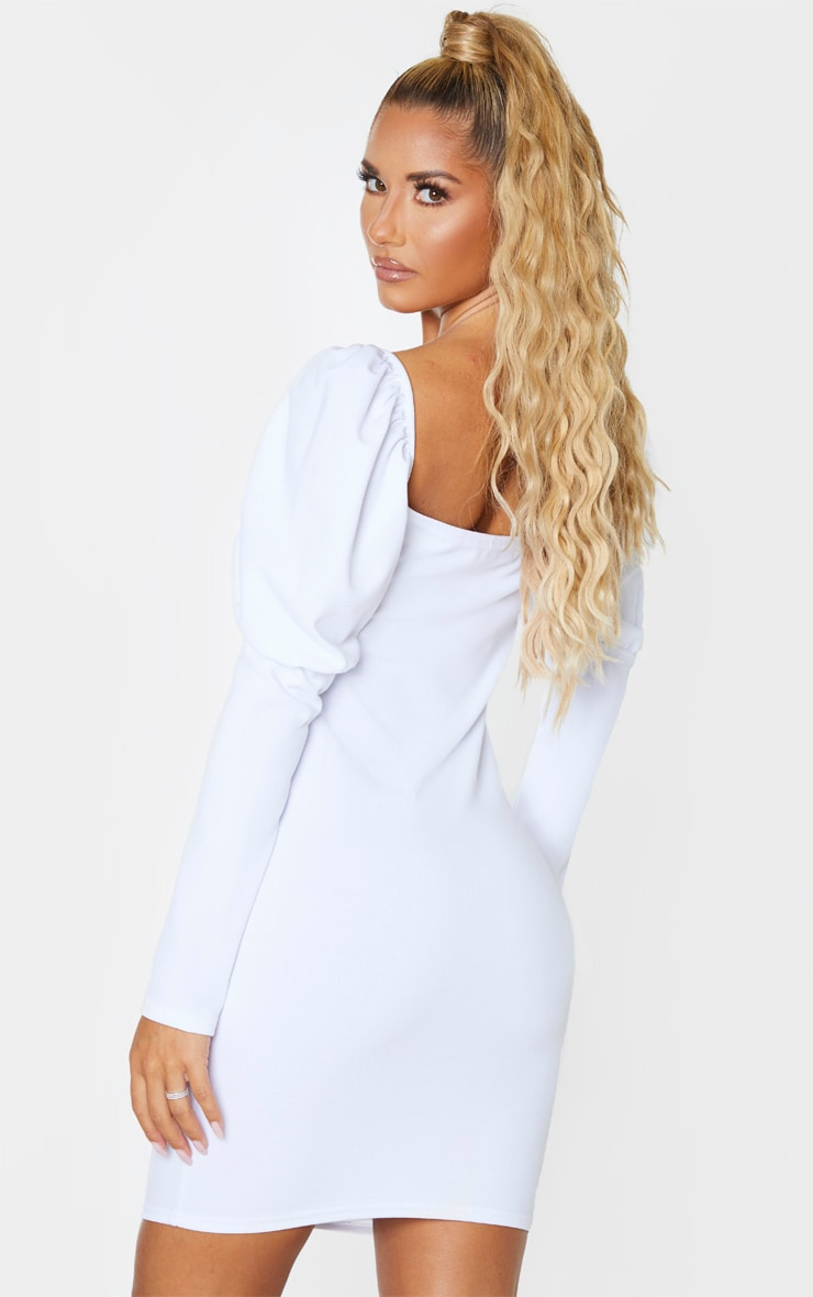 White Long Puff Sleeve Ruched Lace Up Bodycon Dress 2