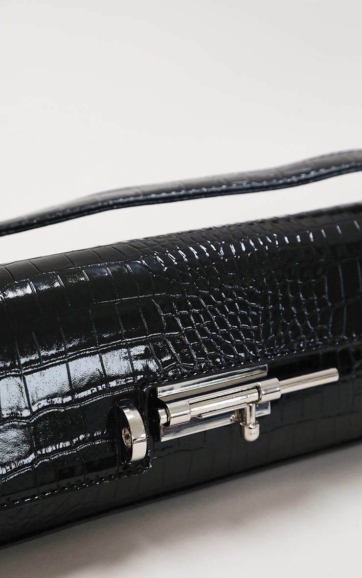 Black Croc Rectangle Baguette Bag 3