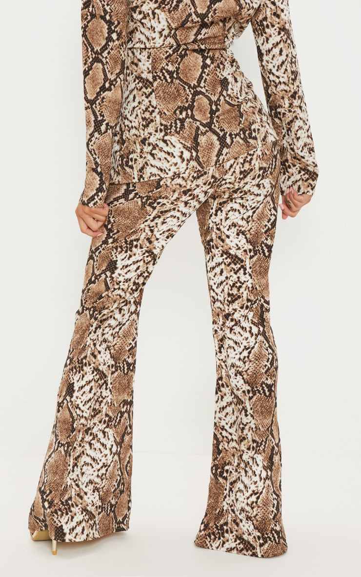Petite Taupe Snake Print Flared Trousers 3