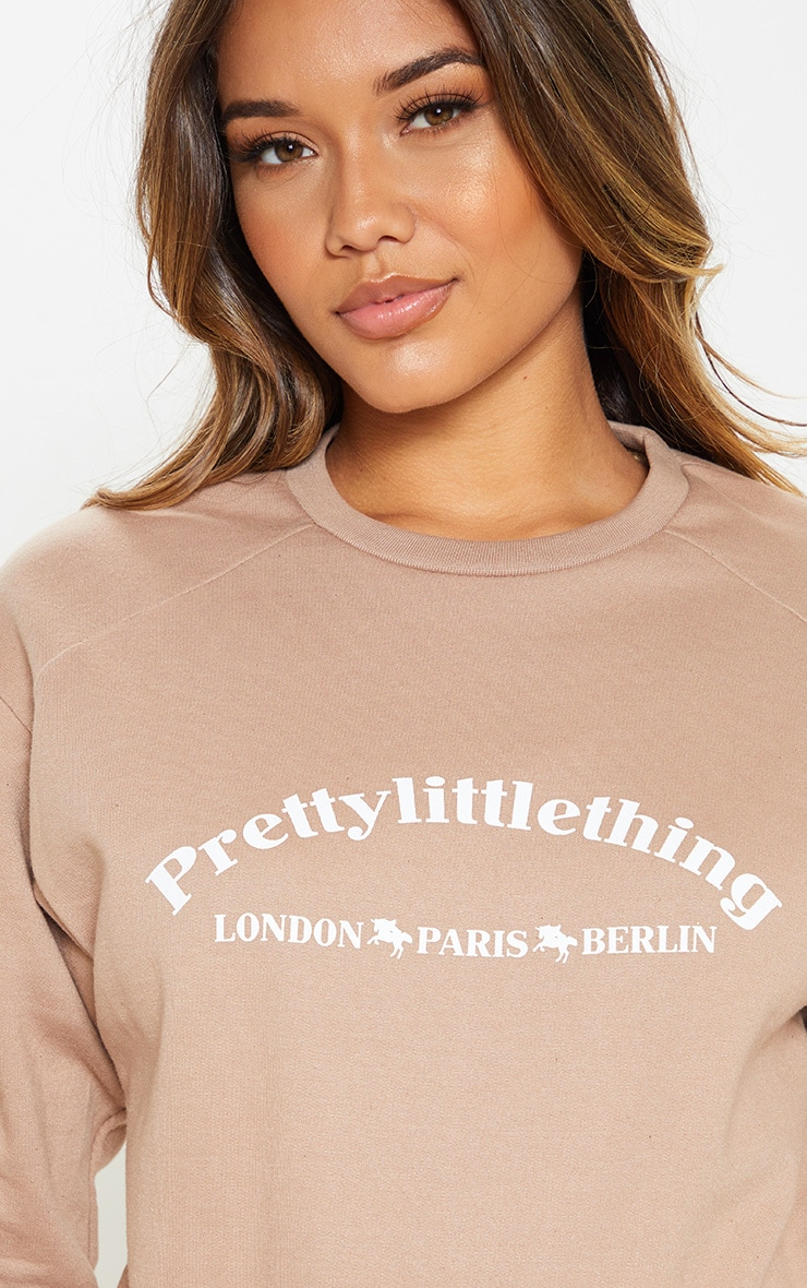 PRETTYLITTLETHING Taupe Europe Slogan Oversized Sweater 5
