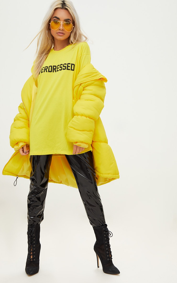 Overdressed Slogan Yellow Oversized T Shirt 3
