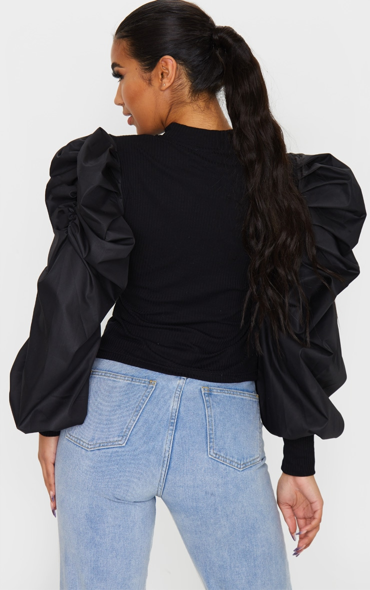 Black Pleated Sleeve Jersey Rib Top 2