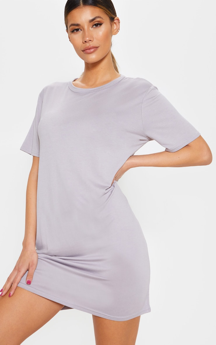 Dove Grey Basic Short Sleeve T Shirt Dress 1
