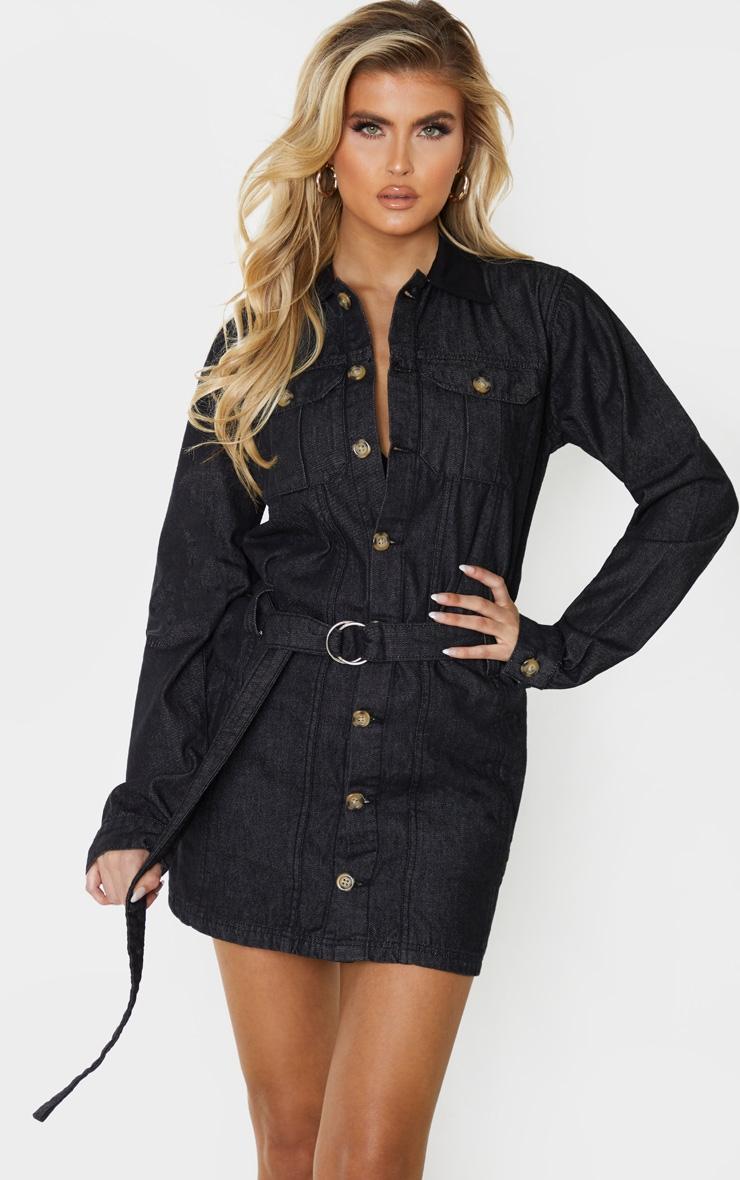 Tall Black Washed Belted Denim Shirt Dress 1