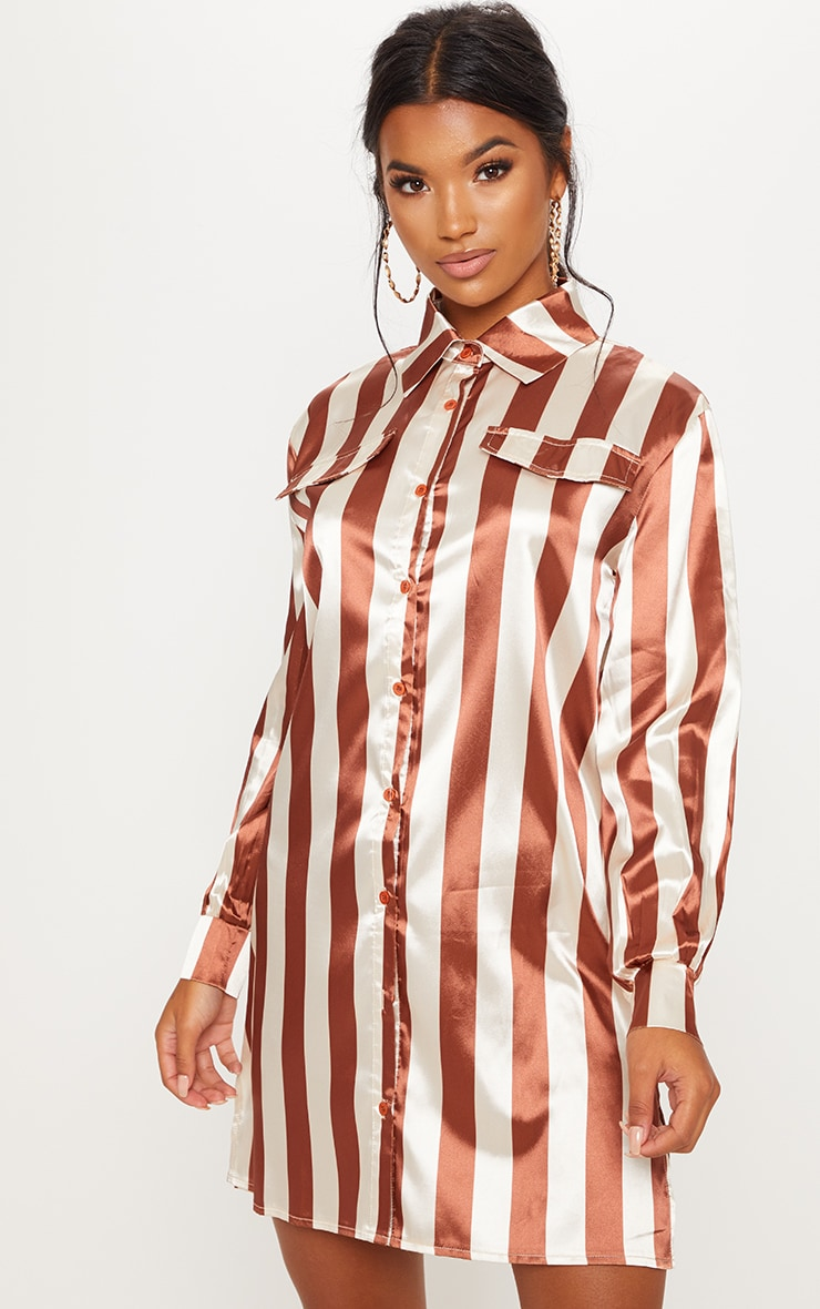 Brown Stripe Print Satin Shirt Dress 3