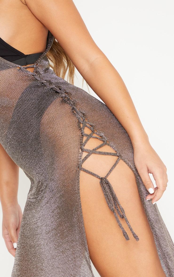 Pewter Metallic Knitted Maxi Dress 5