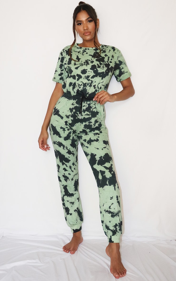 Sage Green Tie Dye Short Sleeve Sweat Jumpsuit 1
