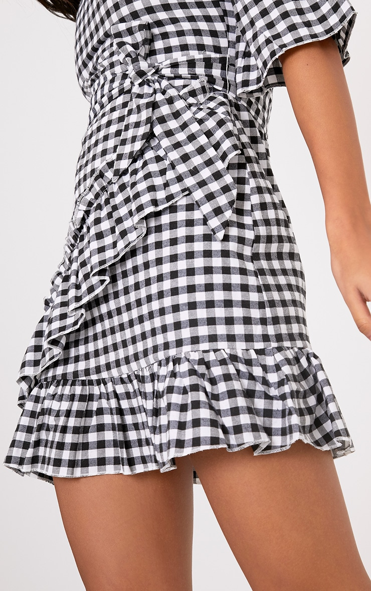 Sandy Black Gingham Bardot Dress  5