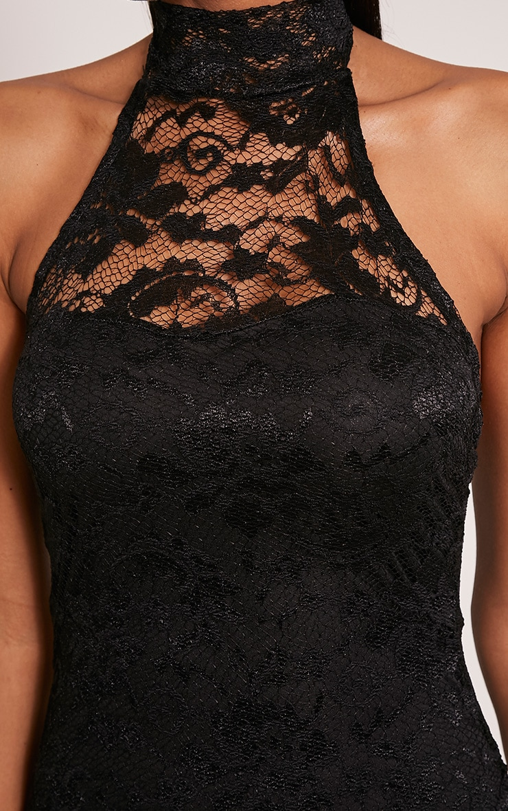 Kalli Black High Neck Lace Detail Midi Dress 6