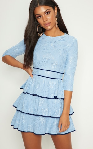 Dusty Blue Lace Contrast Trim Tiered Skater Dress