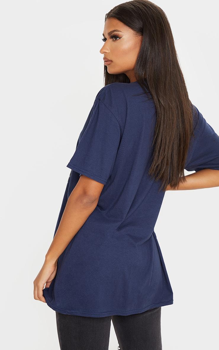 T-shirt bleu marine imprimé photo Tupac 2