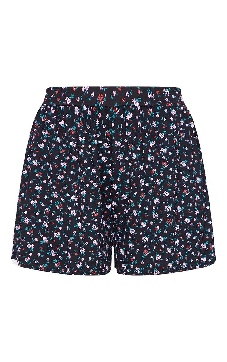 Black Ditsy Floaty Shorts 6
