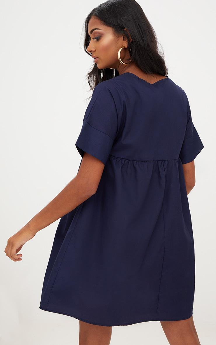 Navy Poplin Smock Dress 2