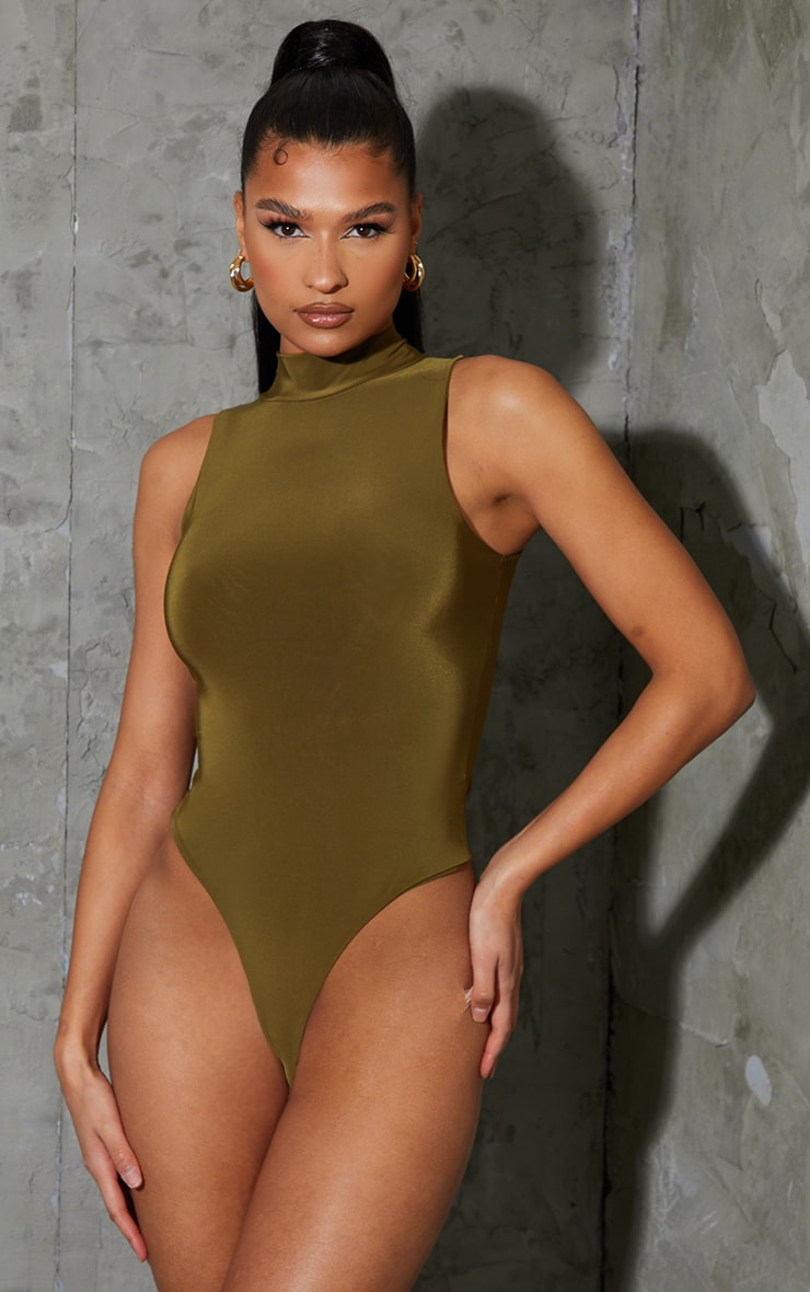 Pale Khaki Soft Touch High Neck Sleeveless Bodysuit 2