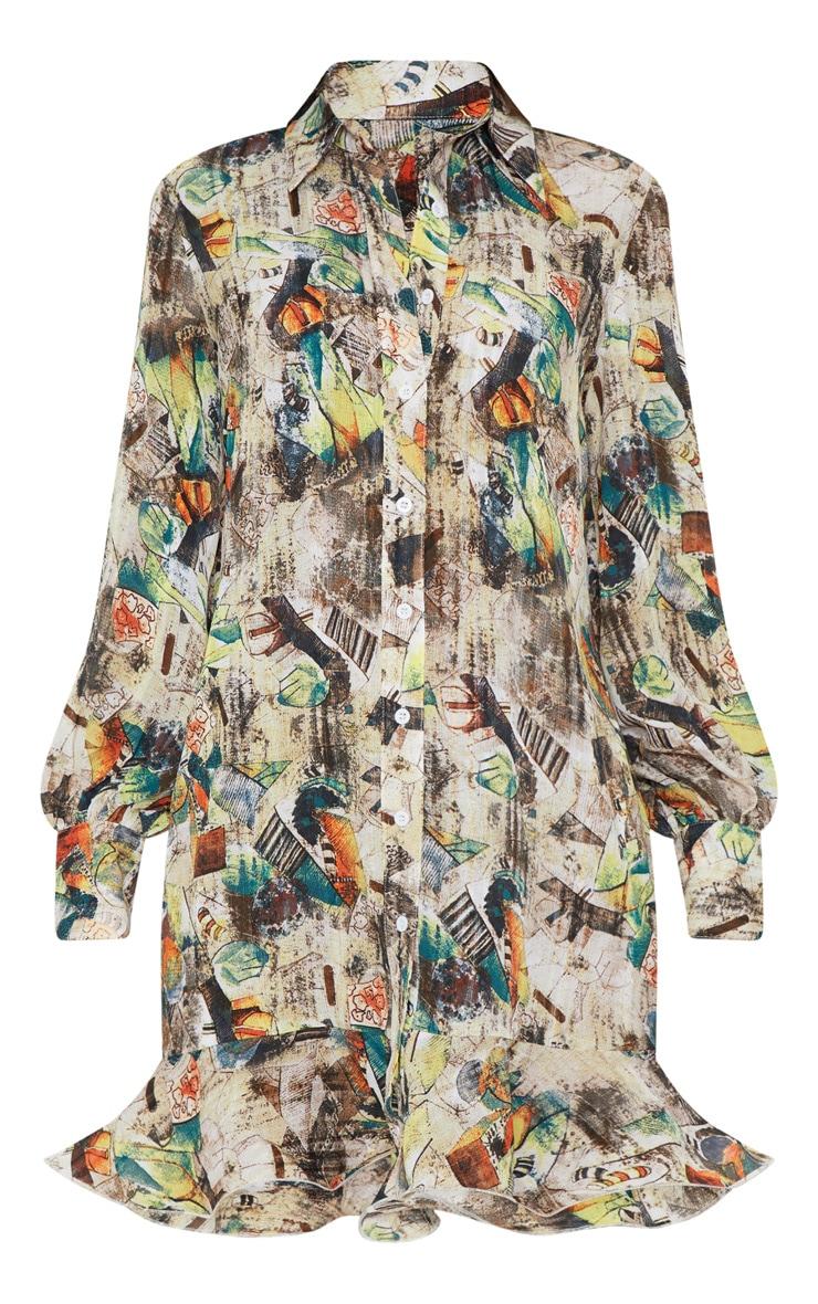 Nude Abstract Print Frill Hem Shirt Dress 3