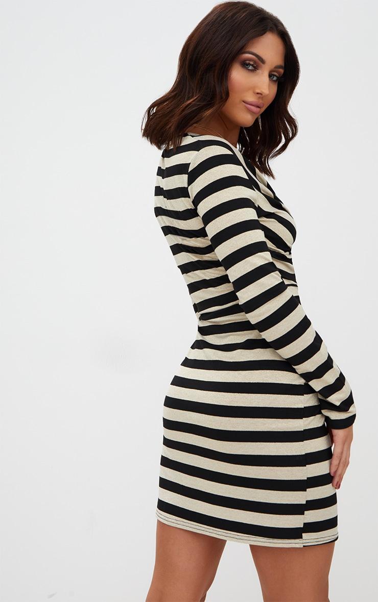 Gold Glitter Stripe Long Sleeve Plunge Extreme Split Bodycon Dress 2