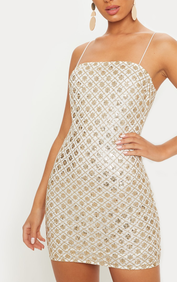 Gold Strappy Sequin Square Neck Bodycon Dress 5