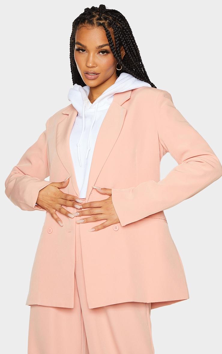 Peach Woven Double Breast Blazer 1
