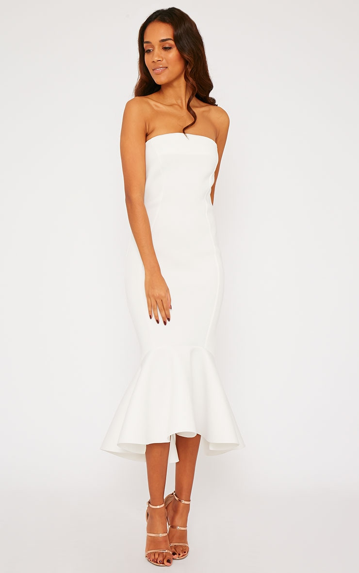 Aisha Cream Bandeau Fish Tail Dress 4