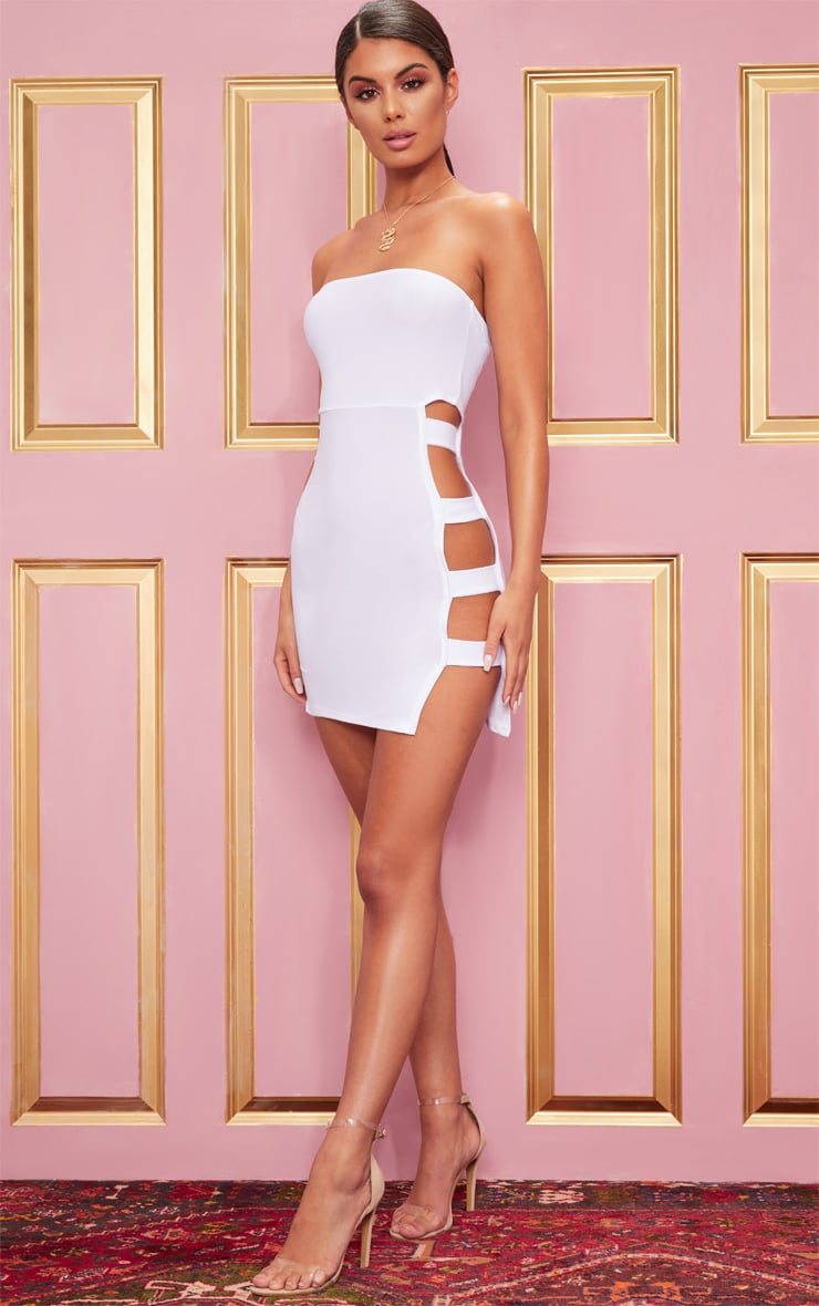 White Crepe Split Side Bandeau Bodycon Dress