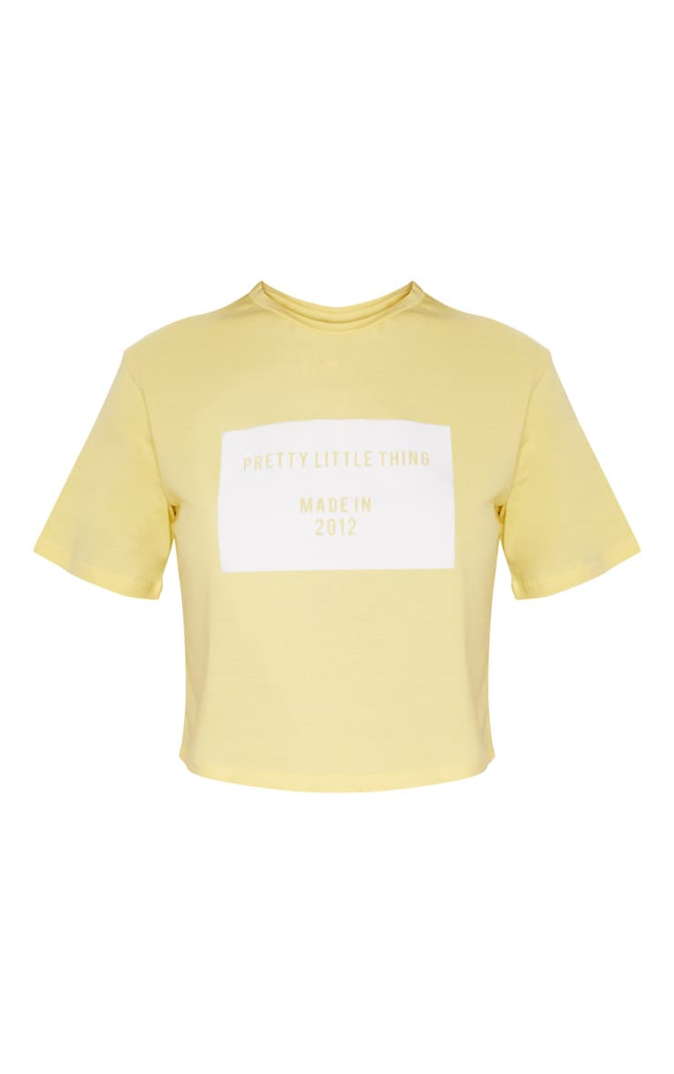 Yellow  Applique Made in 2012 Cropped Tshirt 3