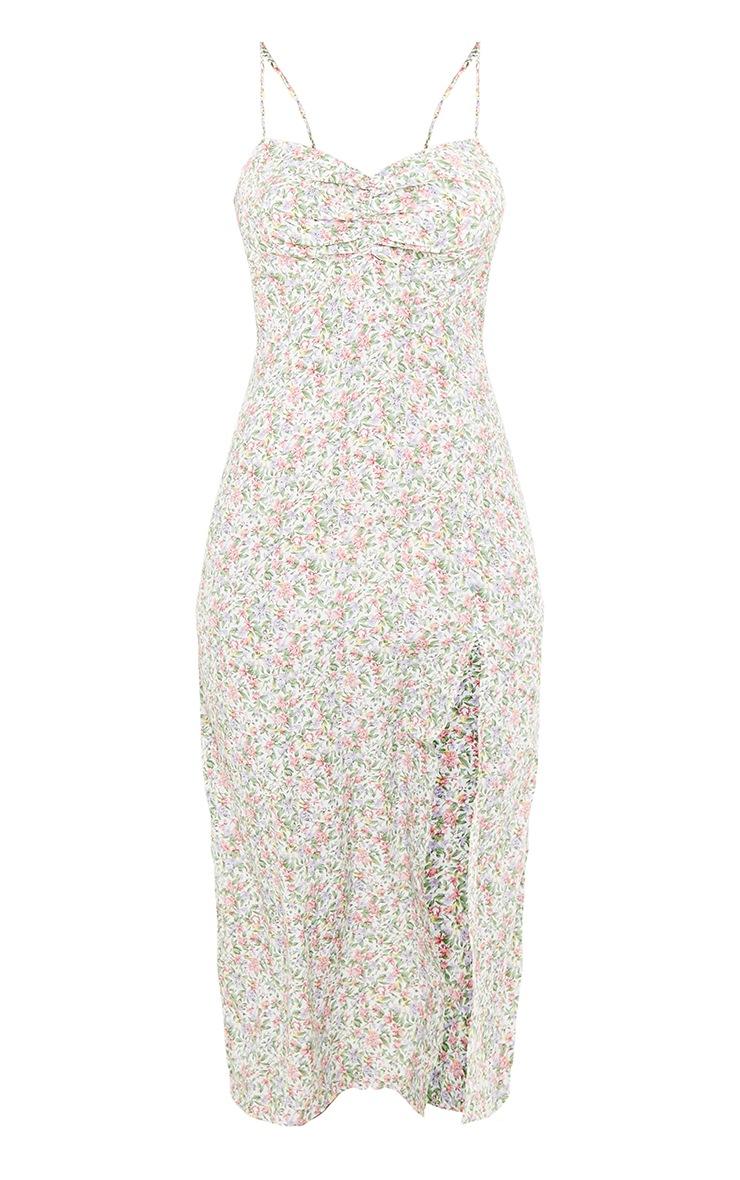 Pink Floral Print Button Detail Strappy Midi Dress 5