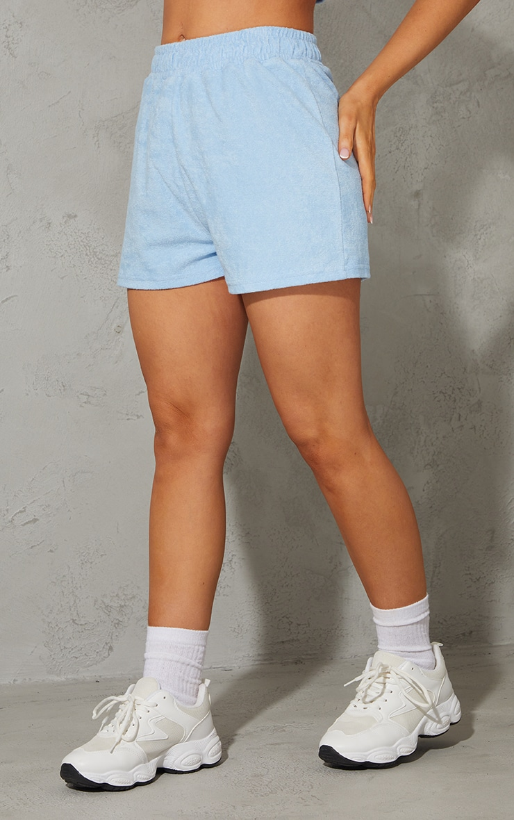 Baby Blue Toweling Runner Shorts 2