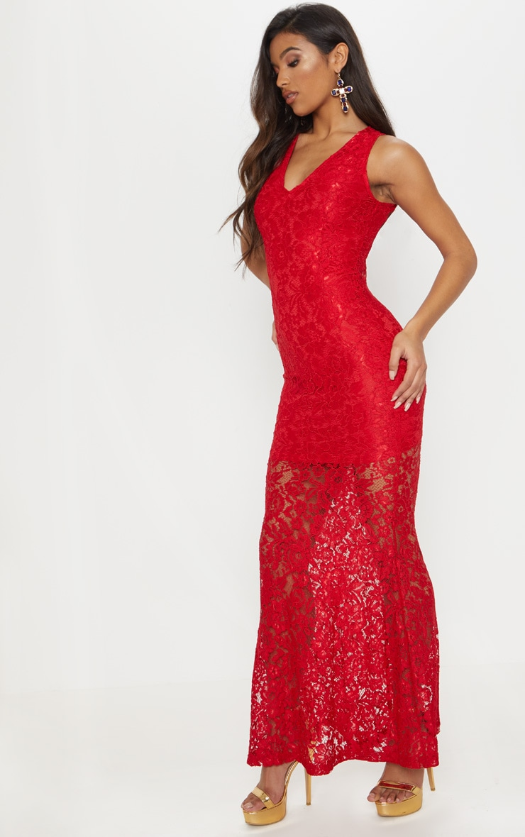Tarra Red Lace Fishtail Maxi Dress 4