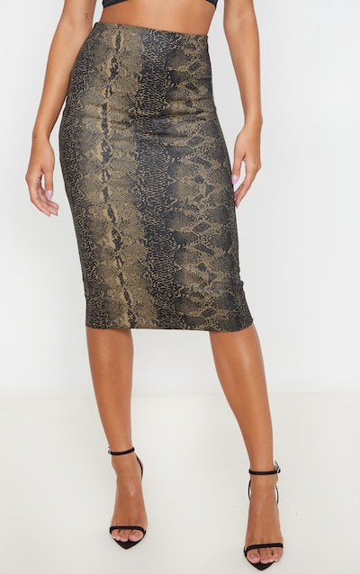 Khaki Faux Leather Snake Print Midi Skirt