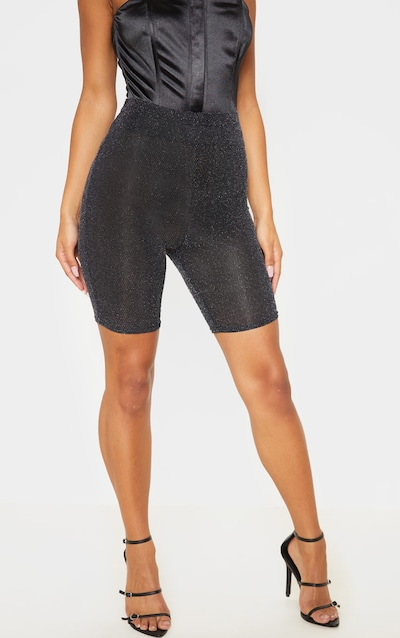Silver Textured Glitter Cycle Short