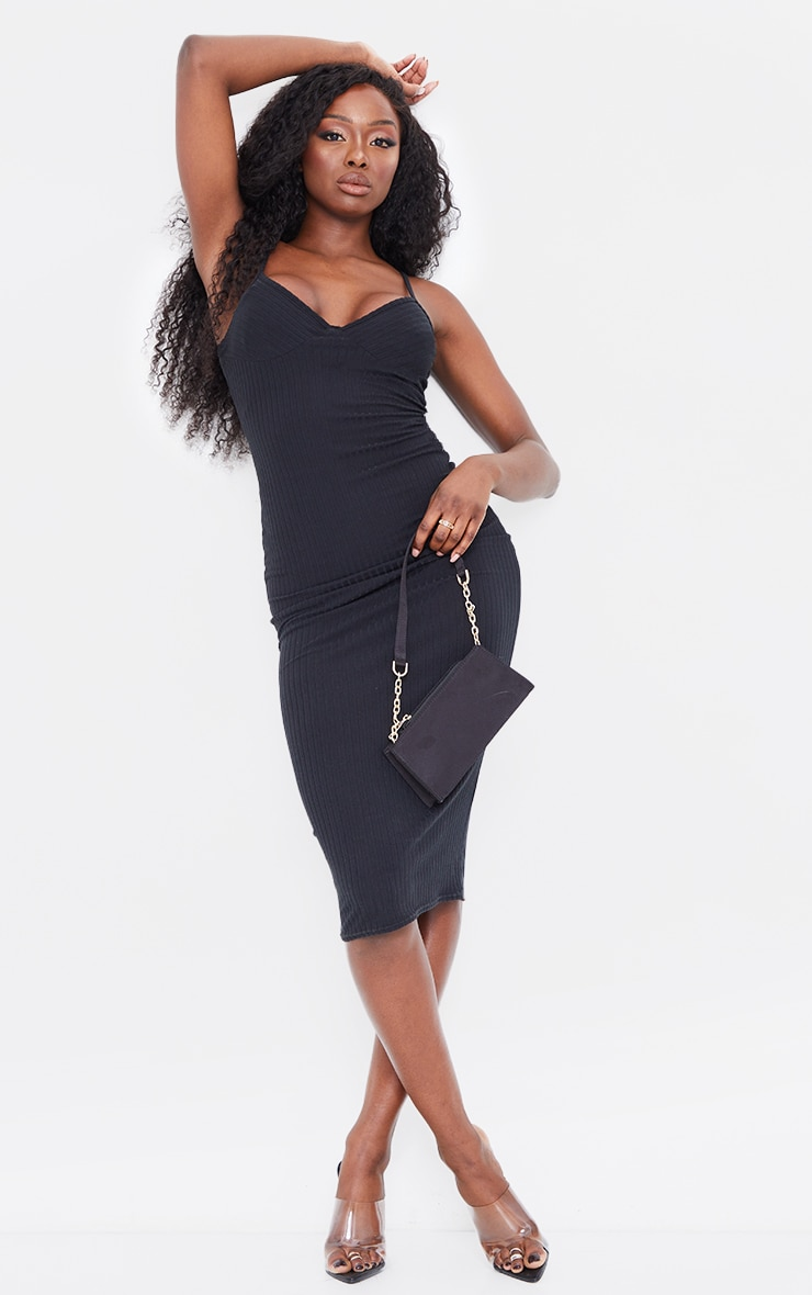 Black Brushed Rib Strappy Mesh Underlayer Midi Dress 1