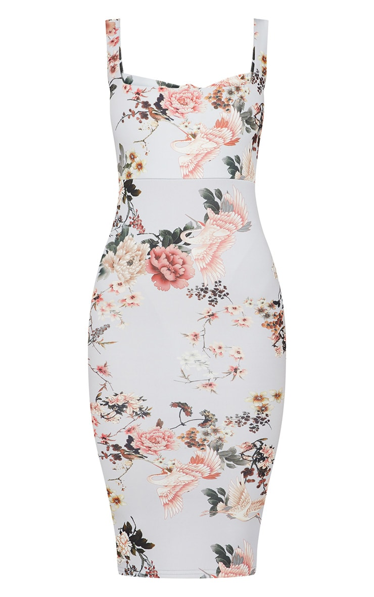 Grey Floral Square Neck Tie Back Midi Dress 3