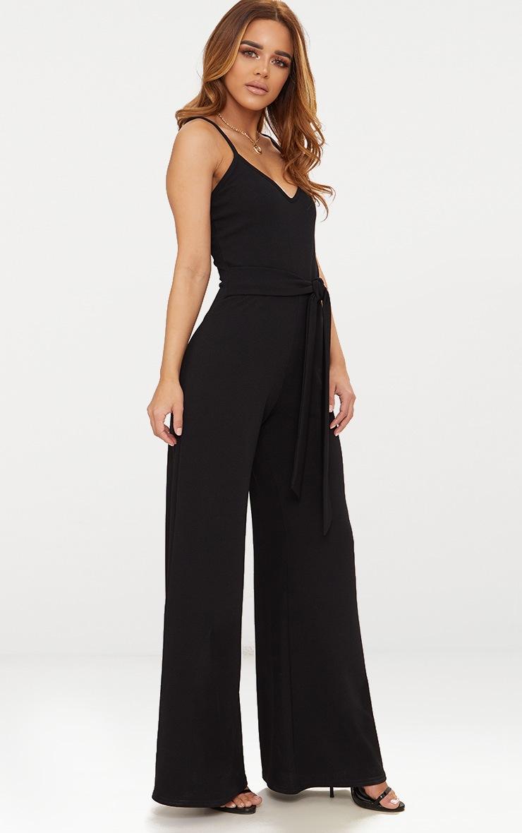 Petite Black Tie Waist Wide Leg Jumpsuit 4