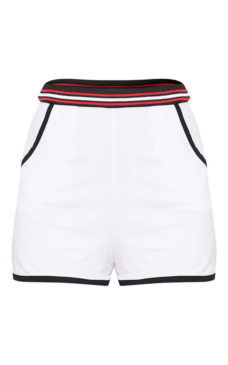 White Stripe Tape Jersey Short 3